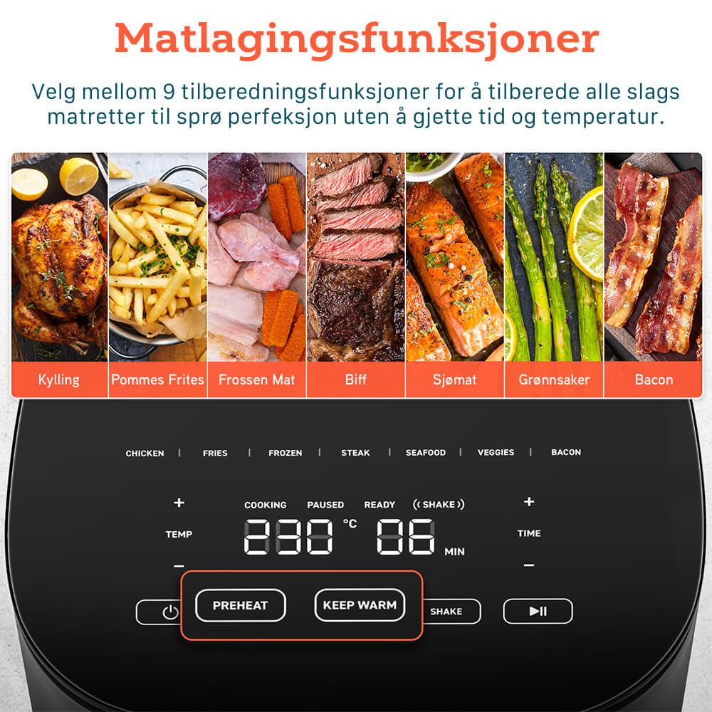 Cosori pro airfryer matfunksjoner