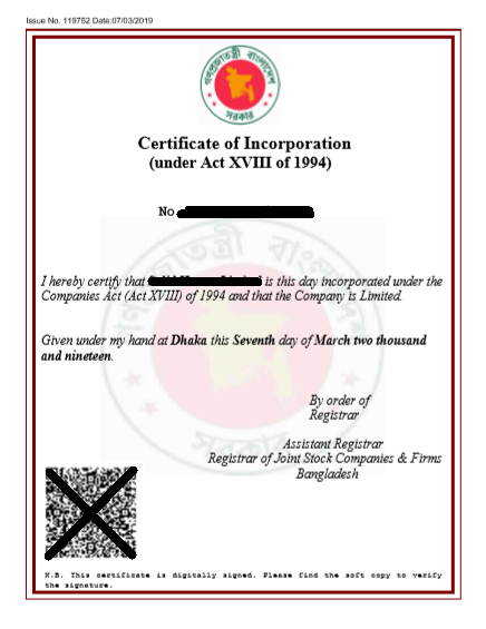 Incorporation certificate sample