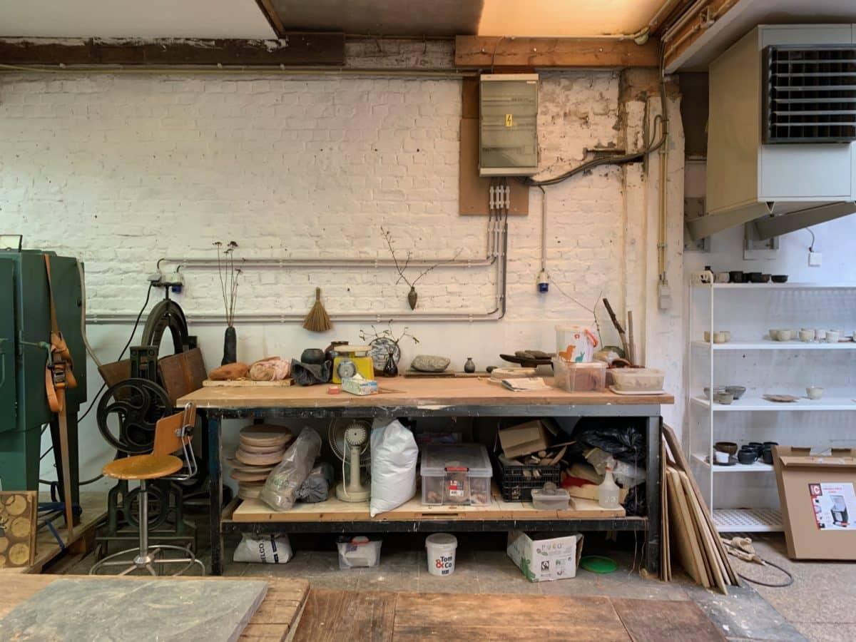 Kosi Hidama's atelier in Brussels