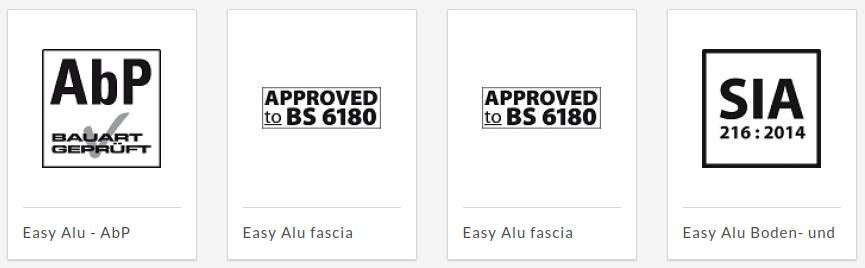 Certificados Barandilla de aluminio Easy Alu
