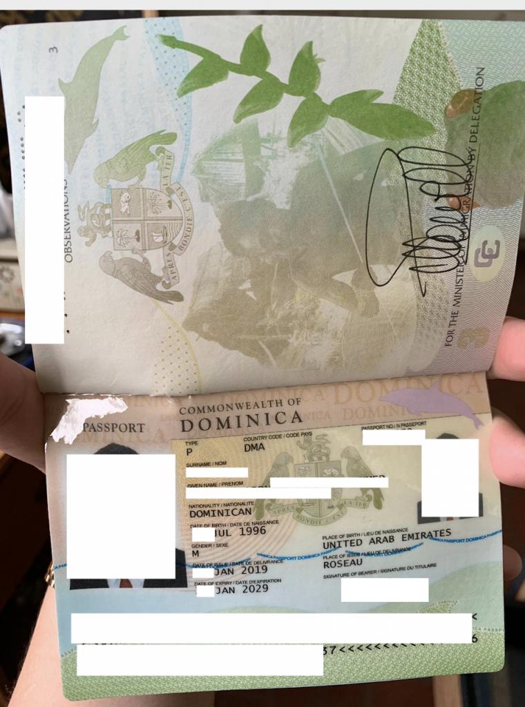 نمونه پاسپورت دومینیکا