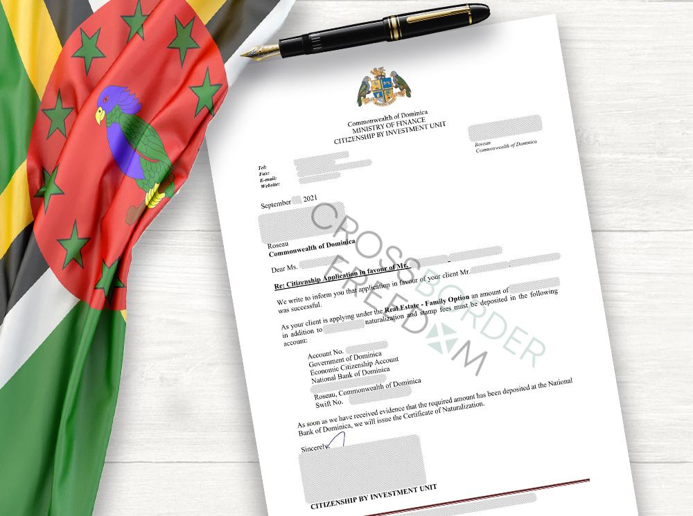 Dominica acceptance letter