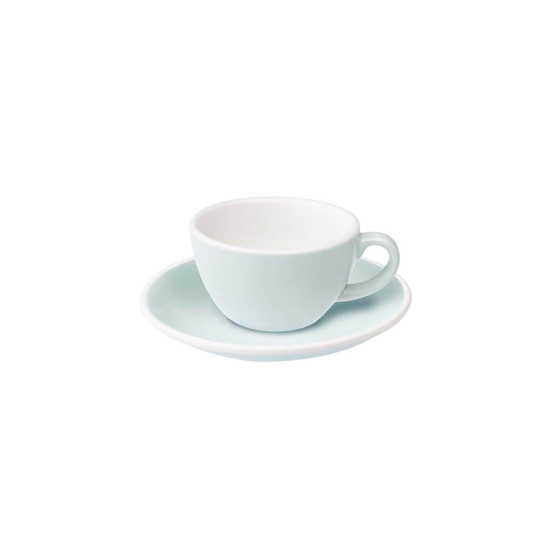 Loveramics - Egg - Flat White Cup - River Blue