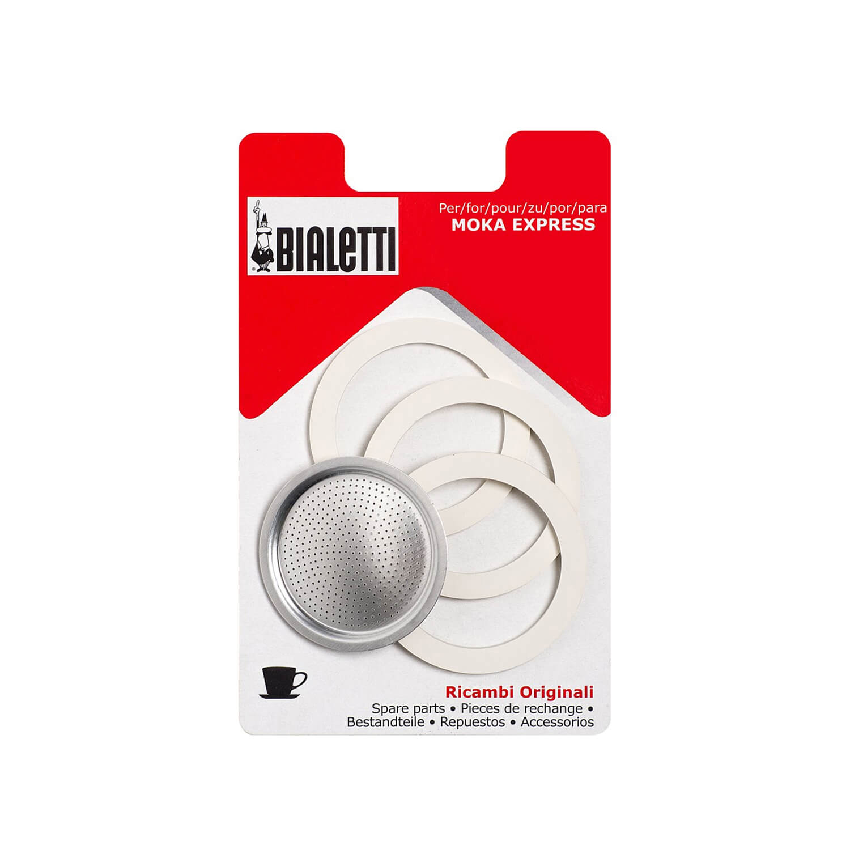 Bialetti - 3 rubber ringen + 1 filterplaatje - 12 Cups