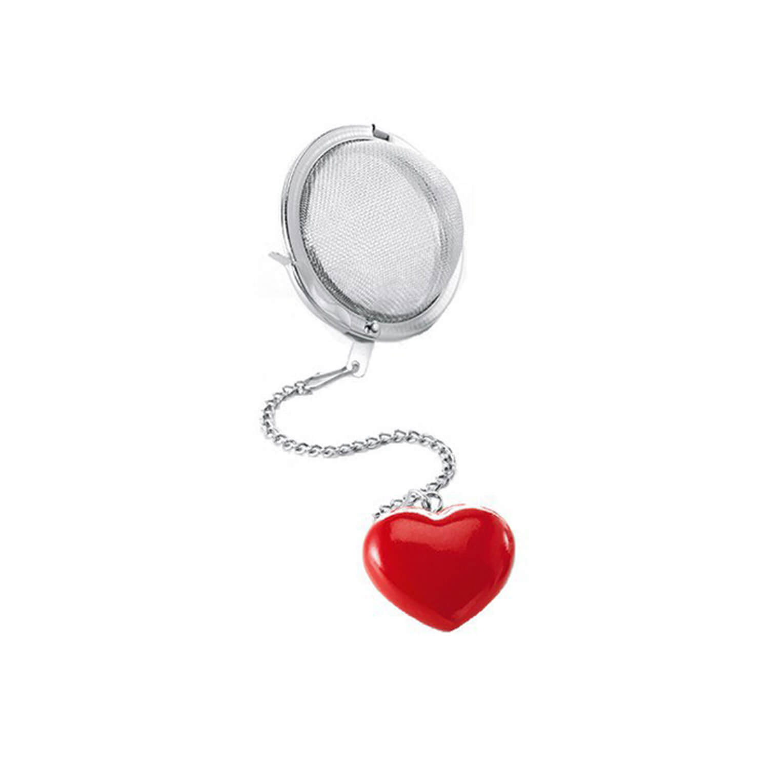 Tea Ball - Heart - Red