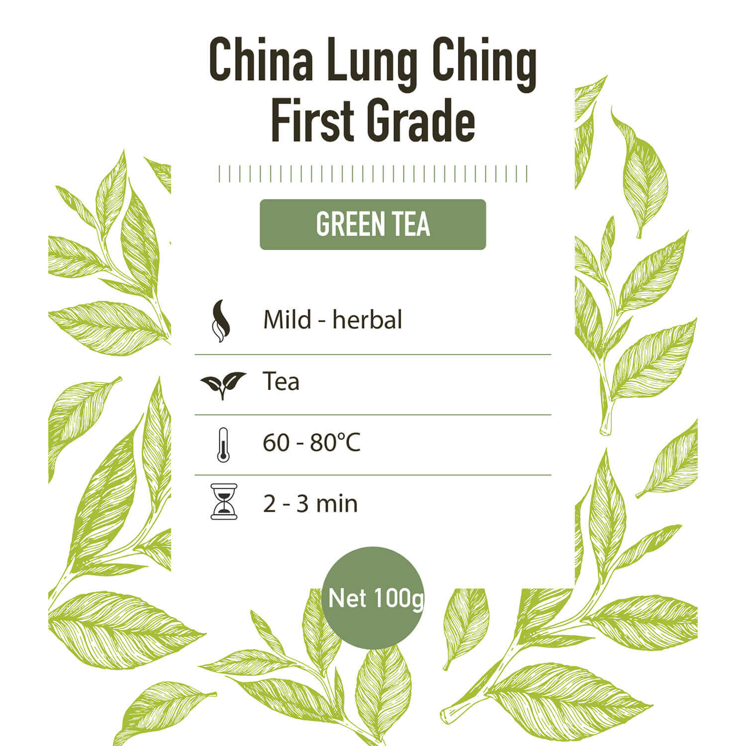 Groene thee – China Lung Ching - detail