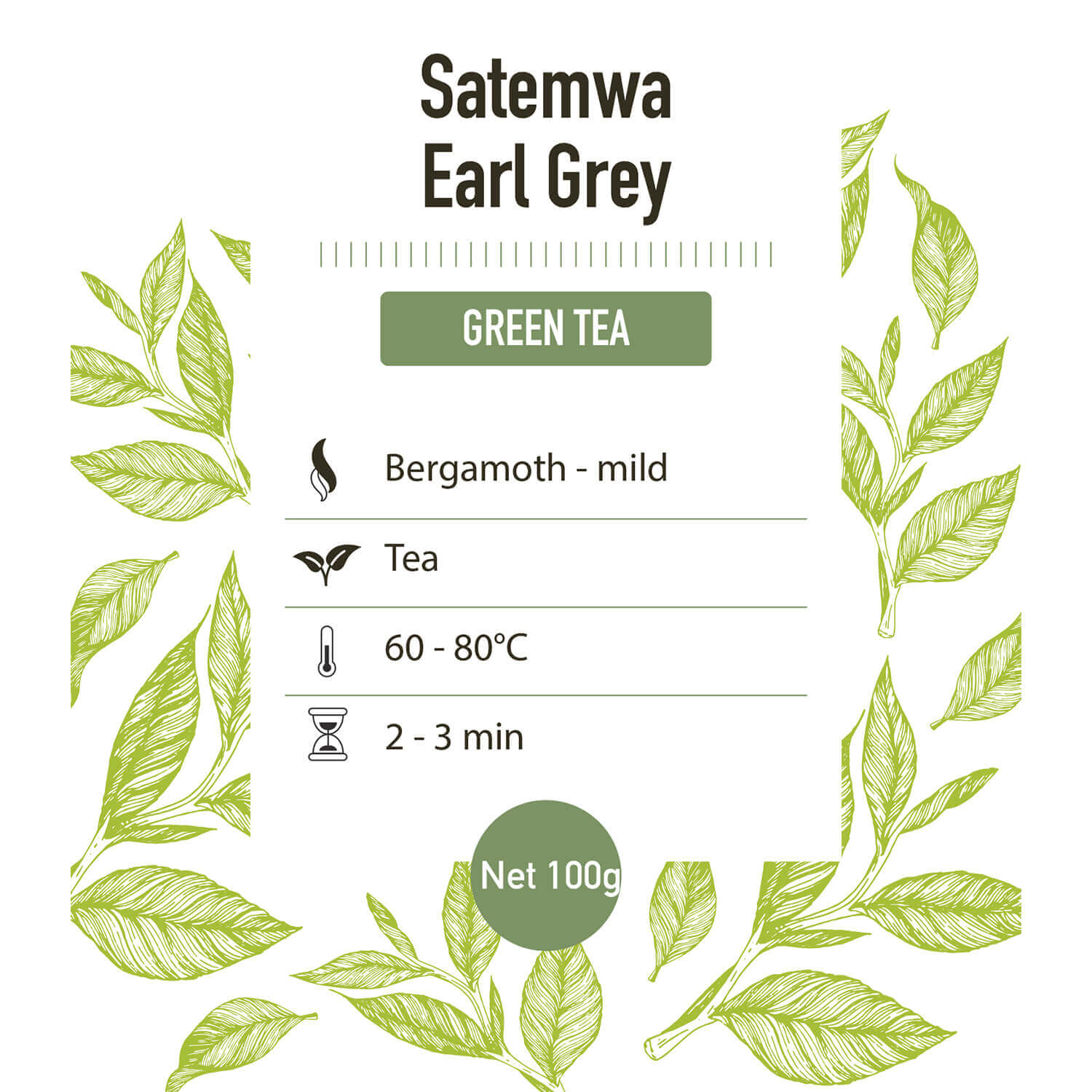 Groene thee – Earl grey green Satemwa - detail