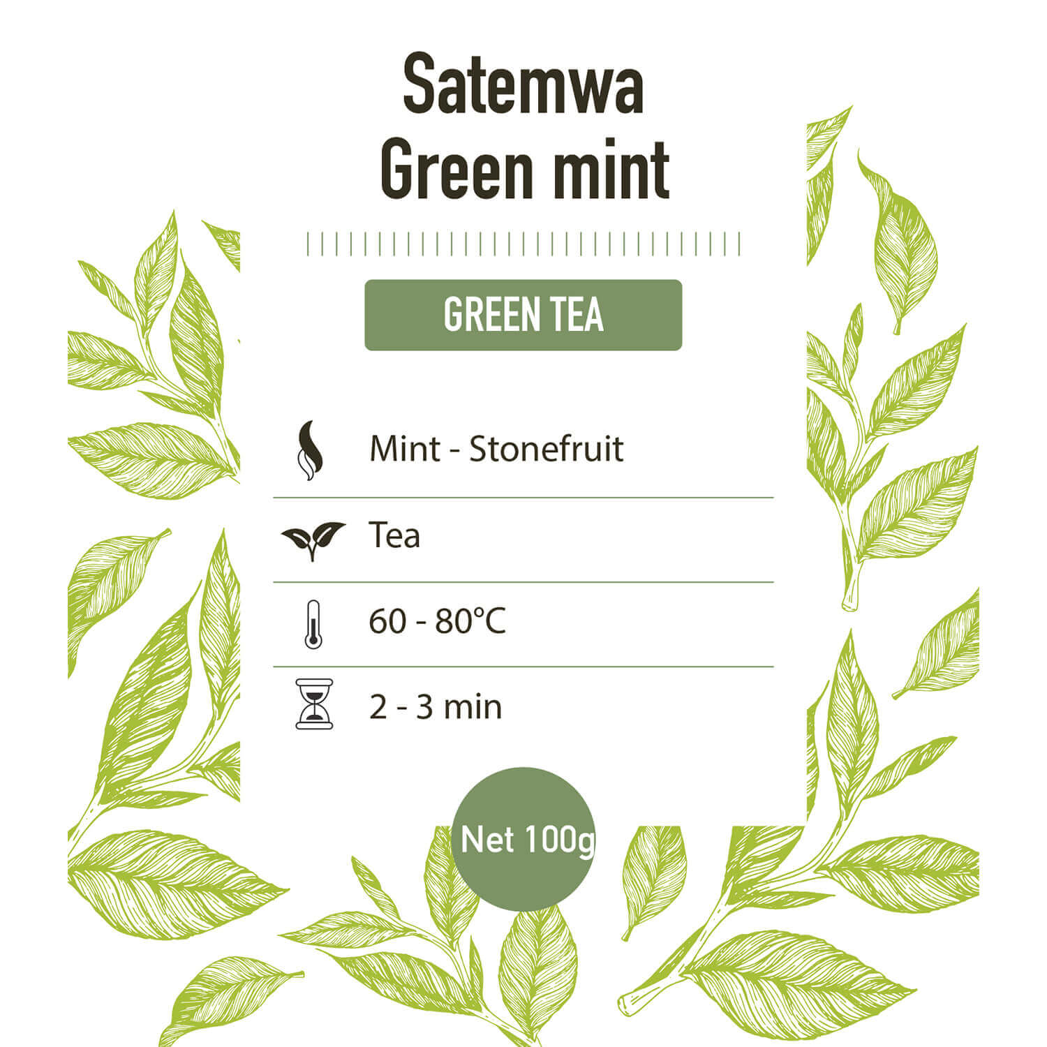 Groene thee – Satemwa Green Mint – detail