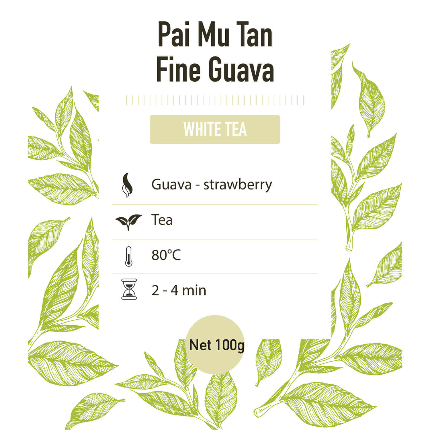 Witte thee – China Pai Mu Tan Fine guava – detail