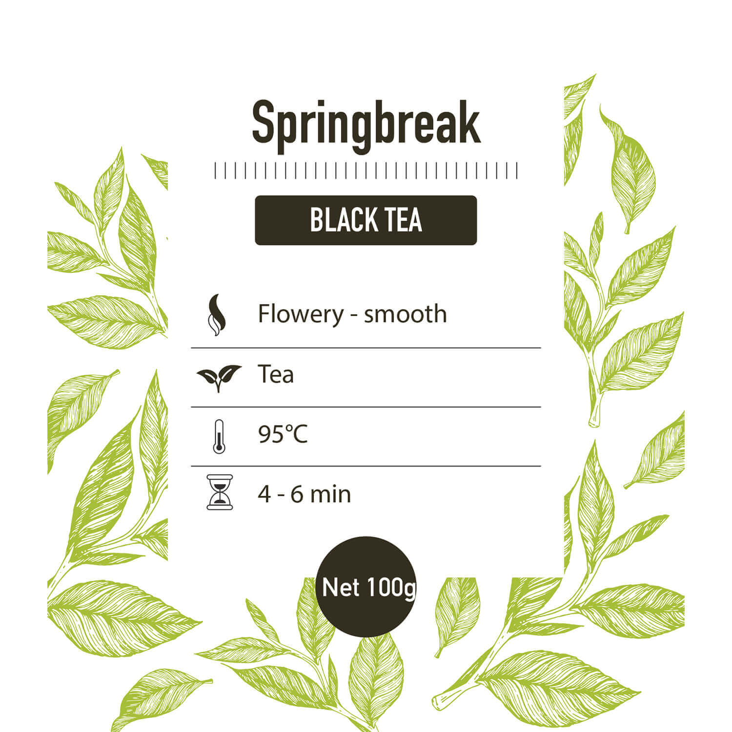 Zwarte thee – Springbreak – detail