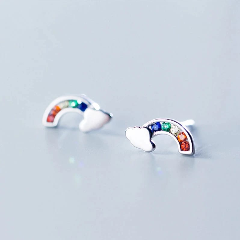 Silver 925 rainbow earrings