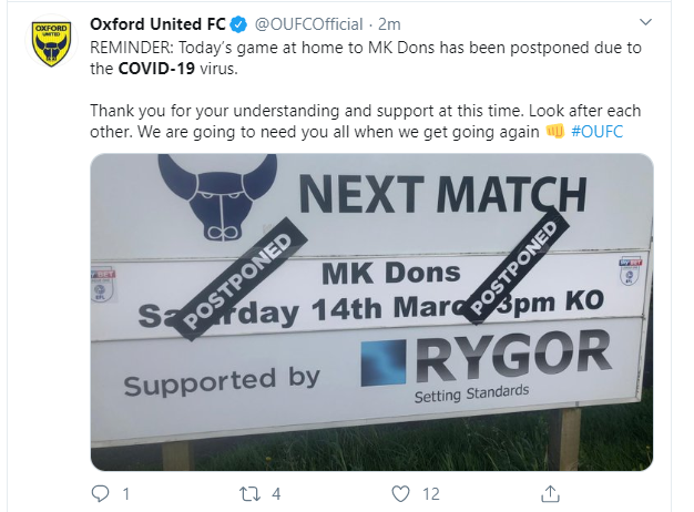 Oxford United FC postpones matches for COVID-19 health concerns