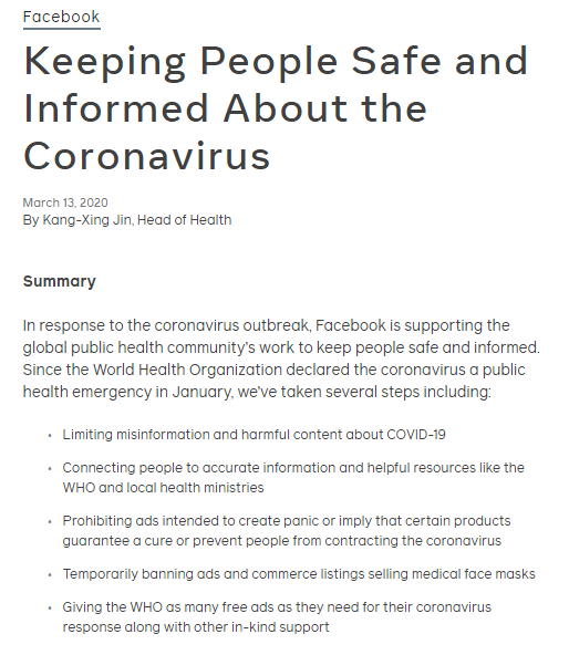 Comment from Facebook health department on measures Facebook is taking to fight the COVID 19 virus.