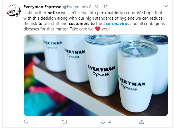 Everyman Espresso notifies customers on hygienic actions to fight corona virus