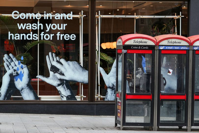 A sign in the window of a Lush store in Liverpool offering a free hand wash service, source Bristol Post