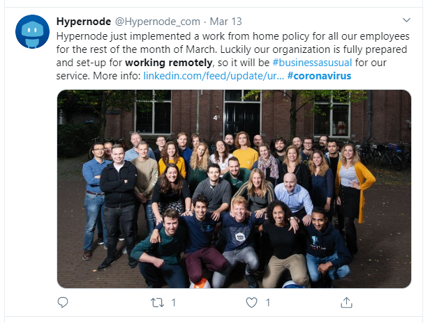 Hypernode takes on remote working as a COVID 19 protection measure