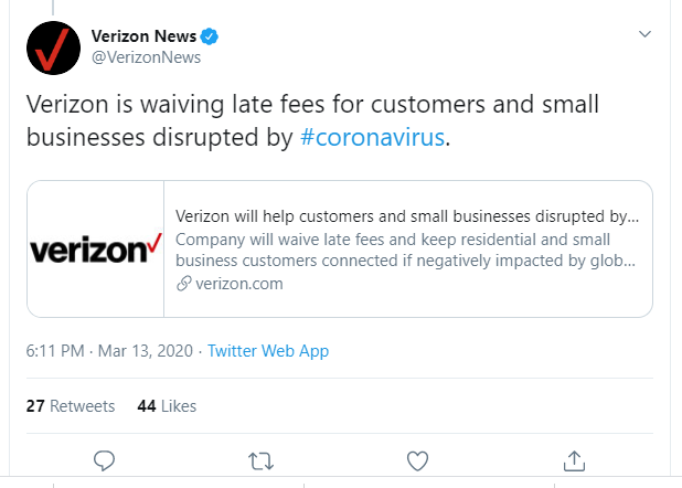 Verizon waives late fee for customers and small businesses disrupted by COVID 19