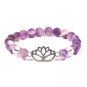 Armband chevron amethist/bergkristal met lotus