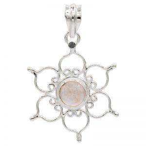 Hanger lotus 925 zilver met rozenkwarts