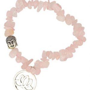 roze kwarts splitarmband met boeddhakraal en lotusbedel