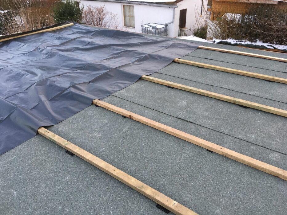 auflattung gartenhaus dach
