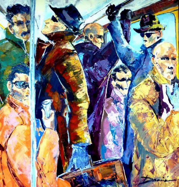 les hommes pressés 100x100cm acrylique sur toile -RC