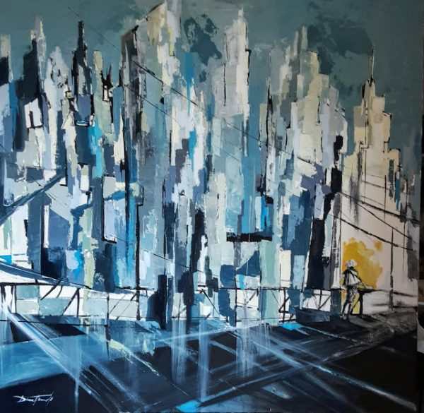 Jazz dans la city acrylique sur toile -120×120 cm -Damian TIrado