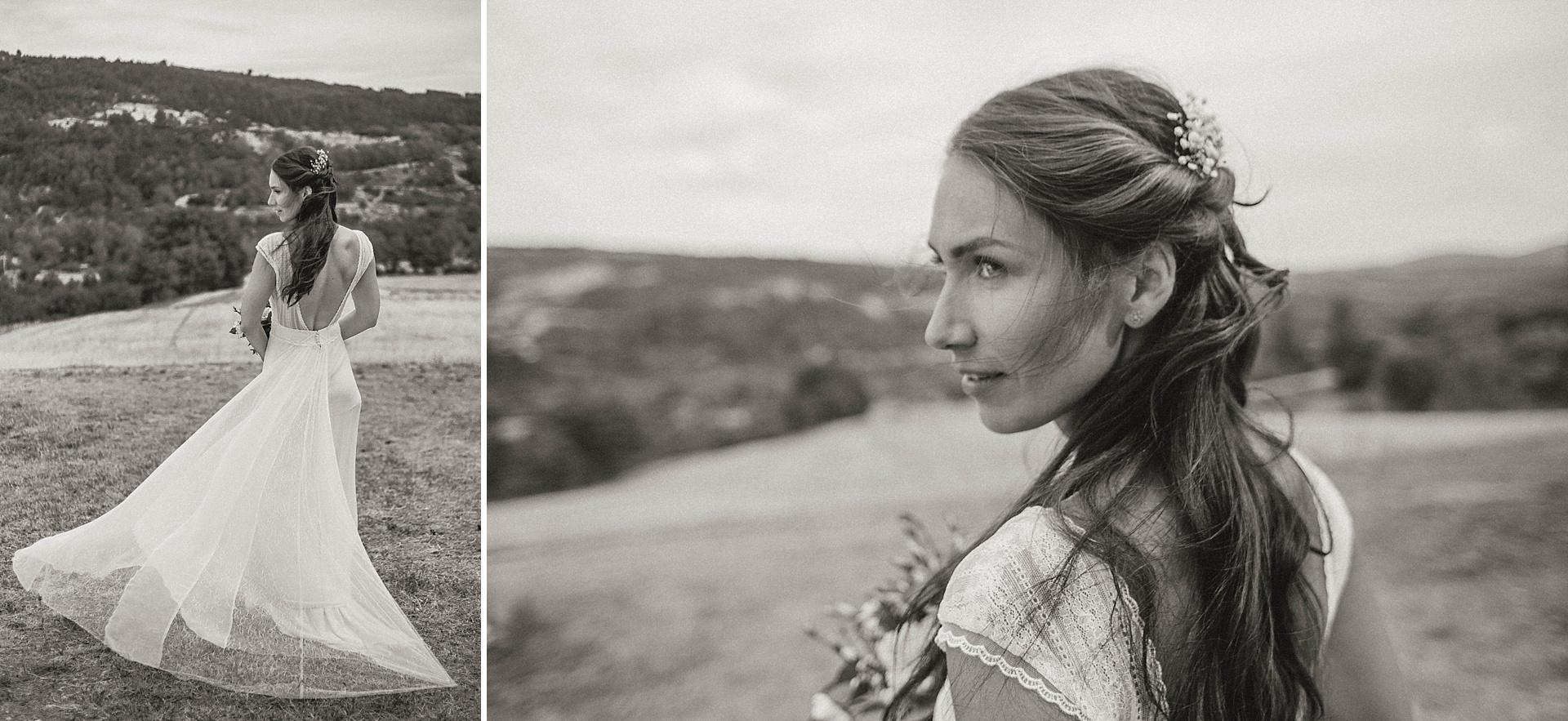 Traumhafte Hochzeit in der Provence. Die Braut. Brautportrait.