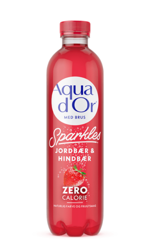 AQUADOR Sparkles Naturligt Mineralvand med Blid Brus, Jordbær & Hindbær.
