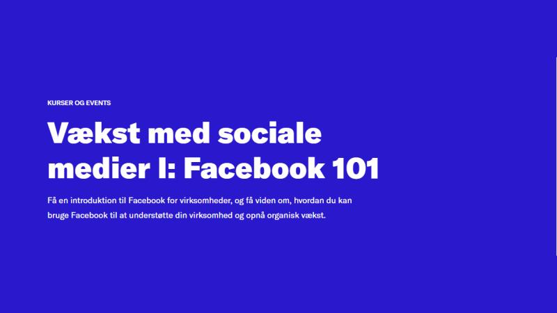 vækst med SoMe 1, Facebook 101
