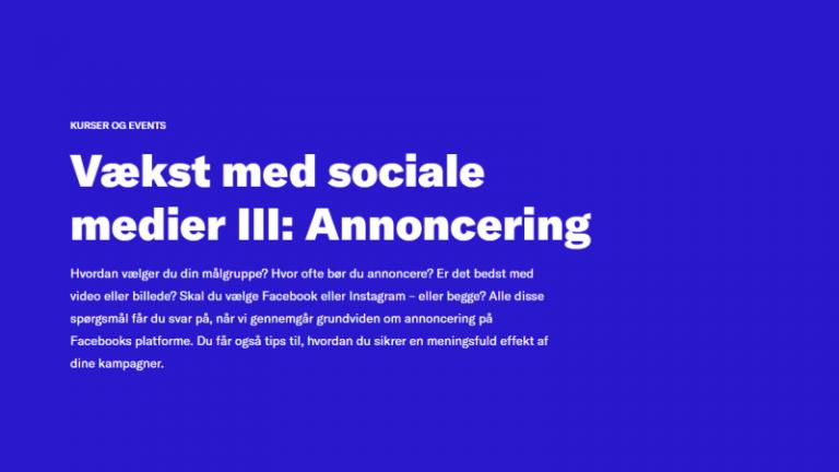 Vækst med sociale medier III: annoncering