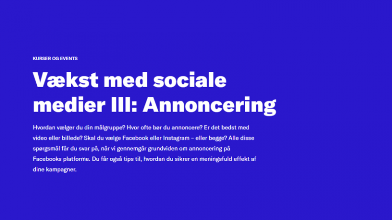 Read more about the article Vækst med sociale medier III: annoncering