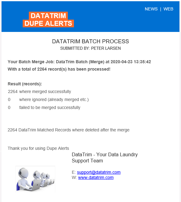 Batch Process - Notification Email