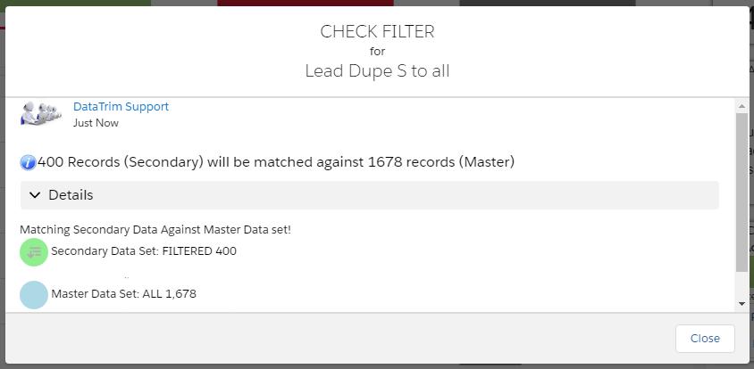 Dupe Alert filters  - Check Filter