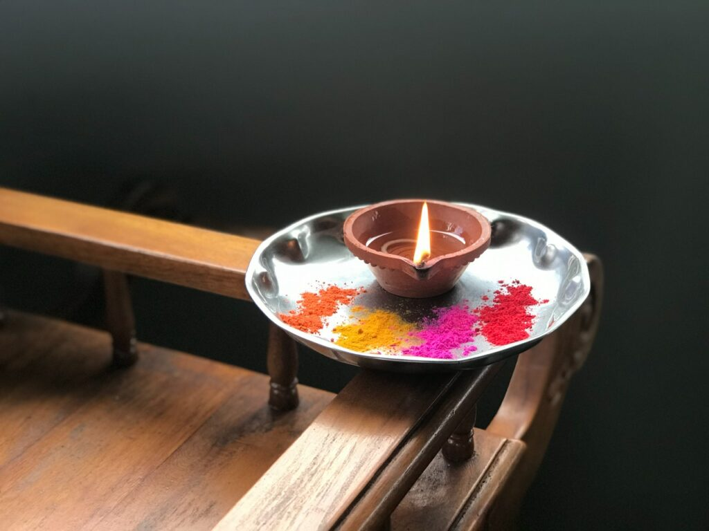 House blessing candle and colour dust ceremony