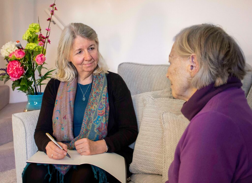 Civil Celebrant Dawn Barker interviewing client.
