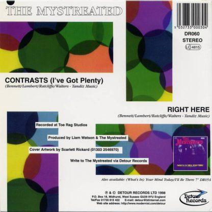 """THE MYSTREATED - Contrasts (I've) Got Plenty 7"""" back"""
