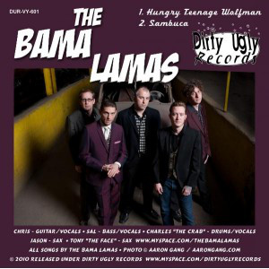 "THE BONE MACHINE / BAMA LAMAS - Split 7"" back cover"