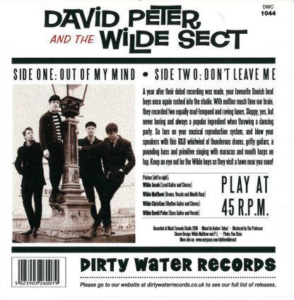 """DAVID PETER & THE WILDE SECT - Out of my Mind 7"""" back"""