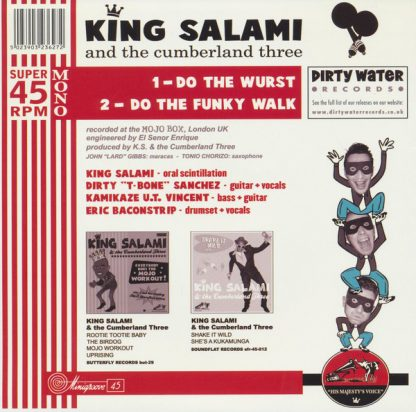 """KING SALAMI & THE CUMBERLAND THREE- Do the Wurst 7"""" back cover"""