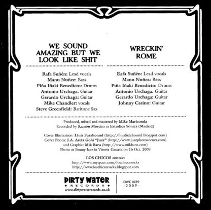 """LOS CHICOS - We Sound Amazing but We Look Like Shit! 7"""" back"""