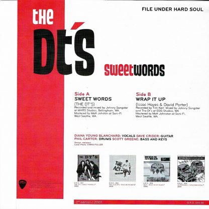 """THE DT's - Sweet Words 7"""" back"""