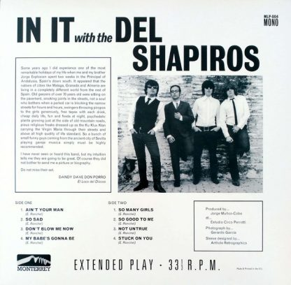 """THE DEL SHAPIROS - In It With... 10"""" back cover"""