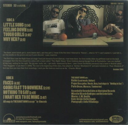 """THE RIGHT NOWS - Little Song 10"""" back cover"""
