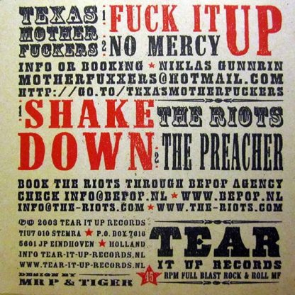 """TEXAS MOTHERFUCKERS / THE RIOTS - Biggest and Baddest Rock & Roll Punkbands 7"""" back cover"""