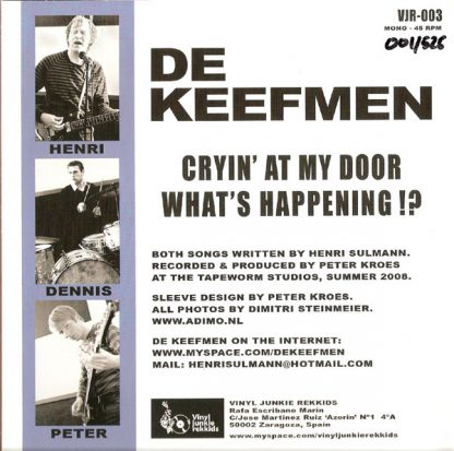 "DE KEEFMEN - Cryin' At My Door 7"" back"