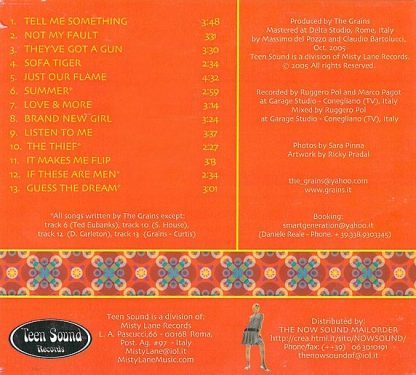 THE GRAINS - Just Our Flame CD back cover