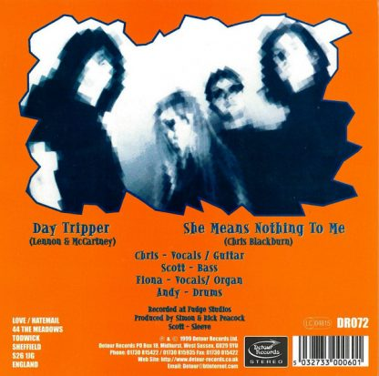 """THE MOURNING AFTER - Day Tripper 7"""" back cover"""