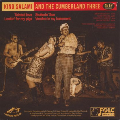 """KING SALAMI & THE CUMBERLAND THREE: Tainted Love 7"""" back cover"""