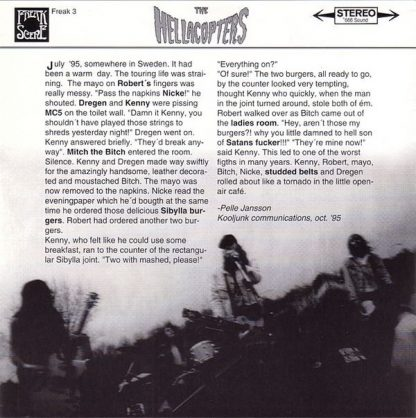 "THE HELLACOPTERS: 1995 / Tilt City / Freespeedin 7"" back cover"